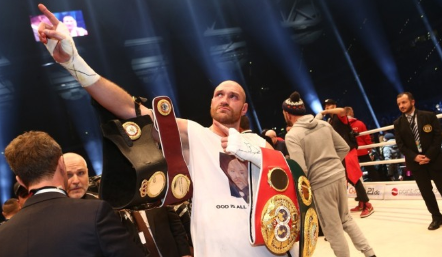 Tyson Fury IBF belt in toiilet